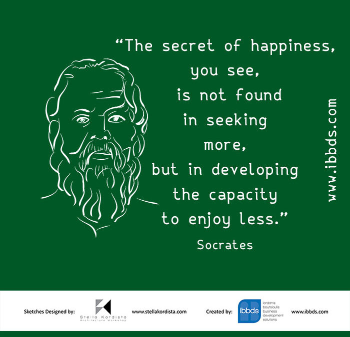Inspirational Quotes, Socrates, The secret of Happiness, by ibbds