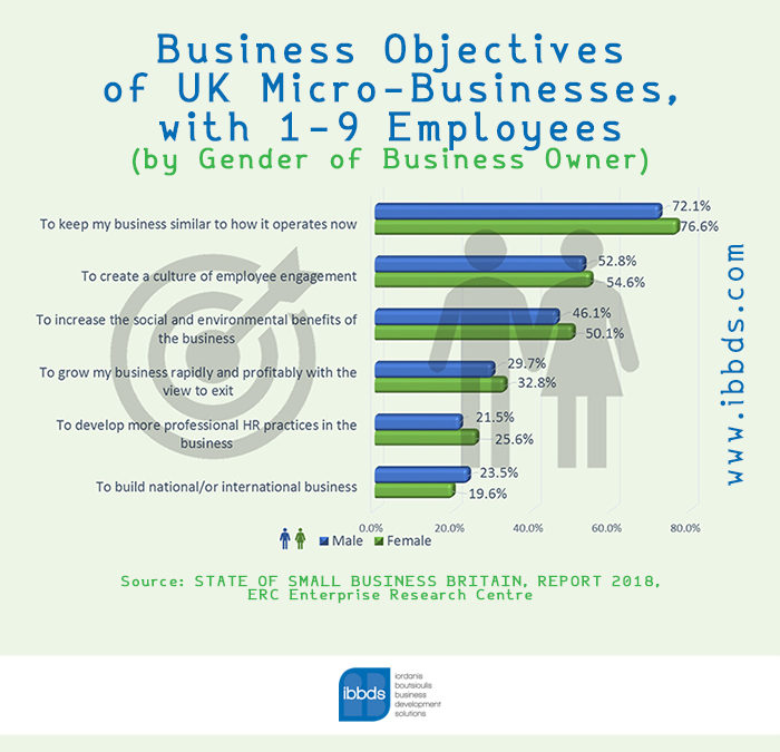 Business Objectives of UK Micro-Businesses, with 1-9 Employees, Infographic by ibbds