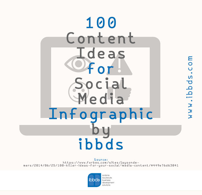 100 Content Ideas for Social Media, Infographic by ibbds